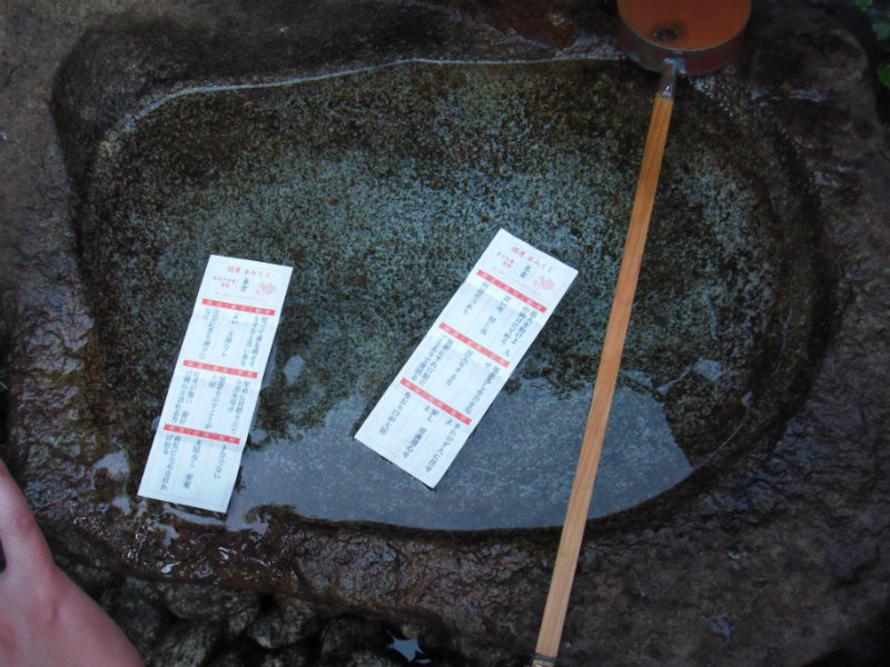 おみくじを浮かべる 江島神社