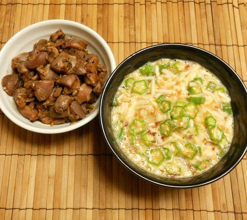 砂肝のコリコリ炒め&ヌルヌルご飯8