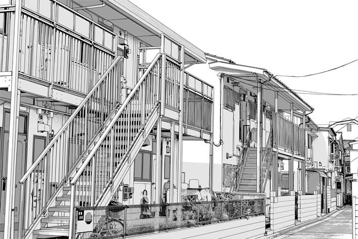 写真加工・漫画背景【アパート006】