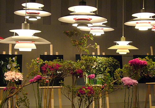 ランプと花