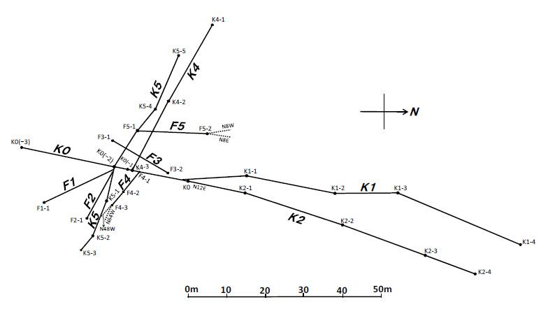 志賀原発敷地西方海岸の断層分布