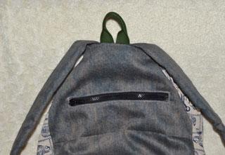 リュックサックの隠しポケット