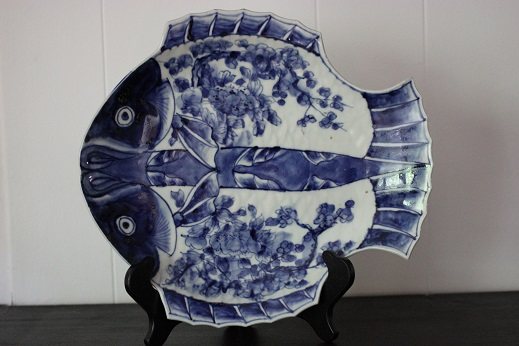 Fish Plate Blue White 014