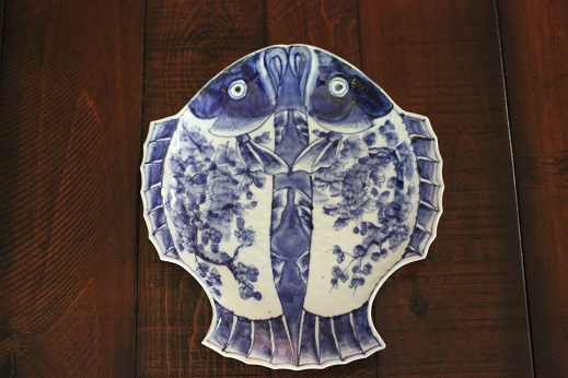 Fish Plate Blue White 020