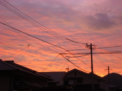 台風のあとの夕焼け空