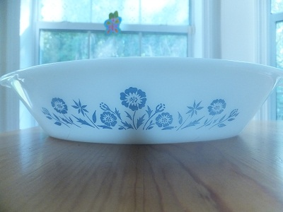 Glasbake ディバイデッド blue flower pattern1