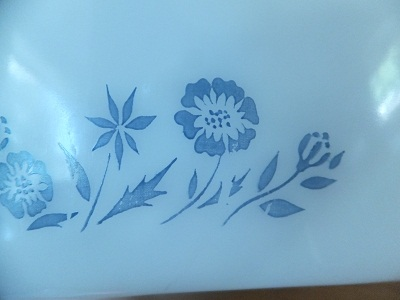Glasbake ディバイデッド blue flower pattern4
