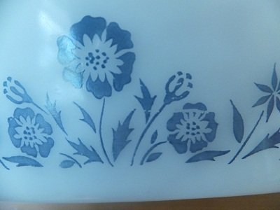Glasbake ディバイデッド blue flower pattern5