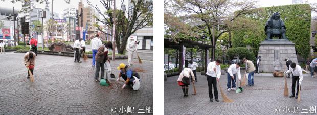 13年4月7日甲府駅前街頭清掃1