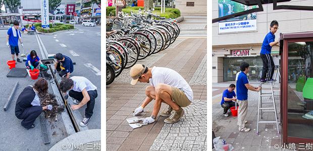 130707甲府駅前街頭清掃活動−10