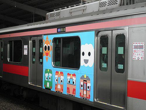 東急5874F・側面のイラスト(東急東横線祐天寺駅・2013年4月4日)