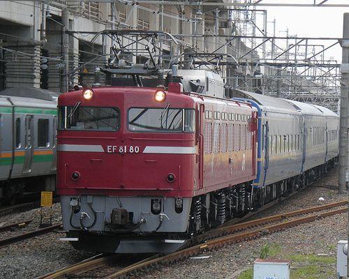 EF81 80[田]牽引・試9502列車(小山駅、2013年6月24日)
