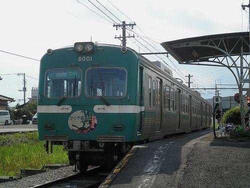 岳南電車モハ8001+クハ8101(岳南江尾駅・2013年8月4日)
