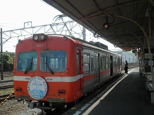 岳南電車モハ7001(吉原駅・2013年8月4日)