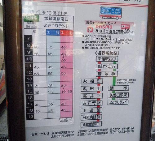 小田急シティバス「新宿駅~よみうりランド」線時刻表(新宿駅西口・2013年9月29日)