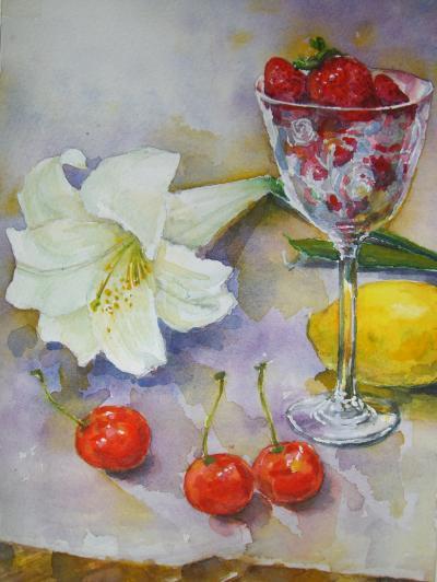 テーブルの白いユリ