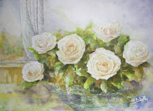 カゴの白バラ