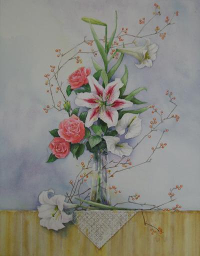 ユリとバラの生け花