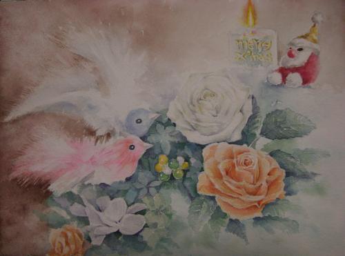 クリスマスの鳥とバラ