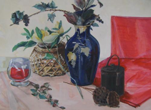花瓶と赤い布