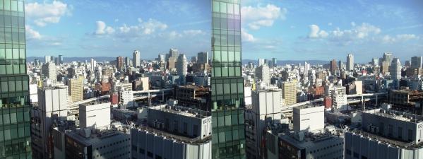 阪急オフィスタワー15Fスカイロビー眺望③(交差法)