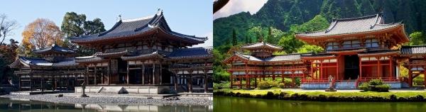 平等院鳳凰堂(左)と平等院テンプル(右)