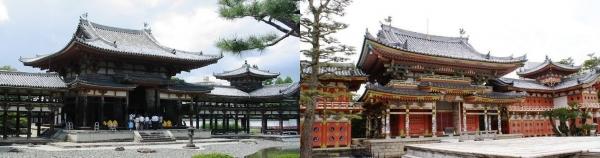 平等院鳳凰堂(左)と耕三寺本堂(右)