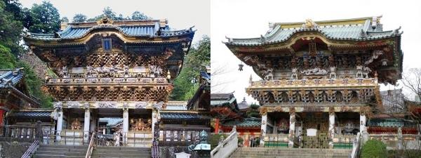 東照宮陽明門(左)と耕三寺老陽門(右)