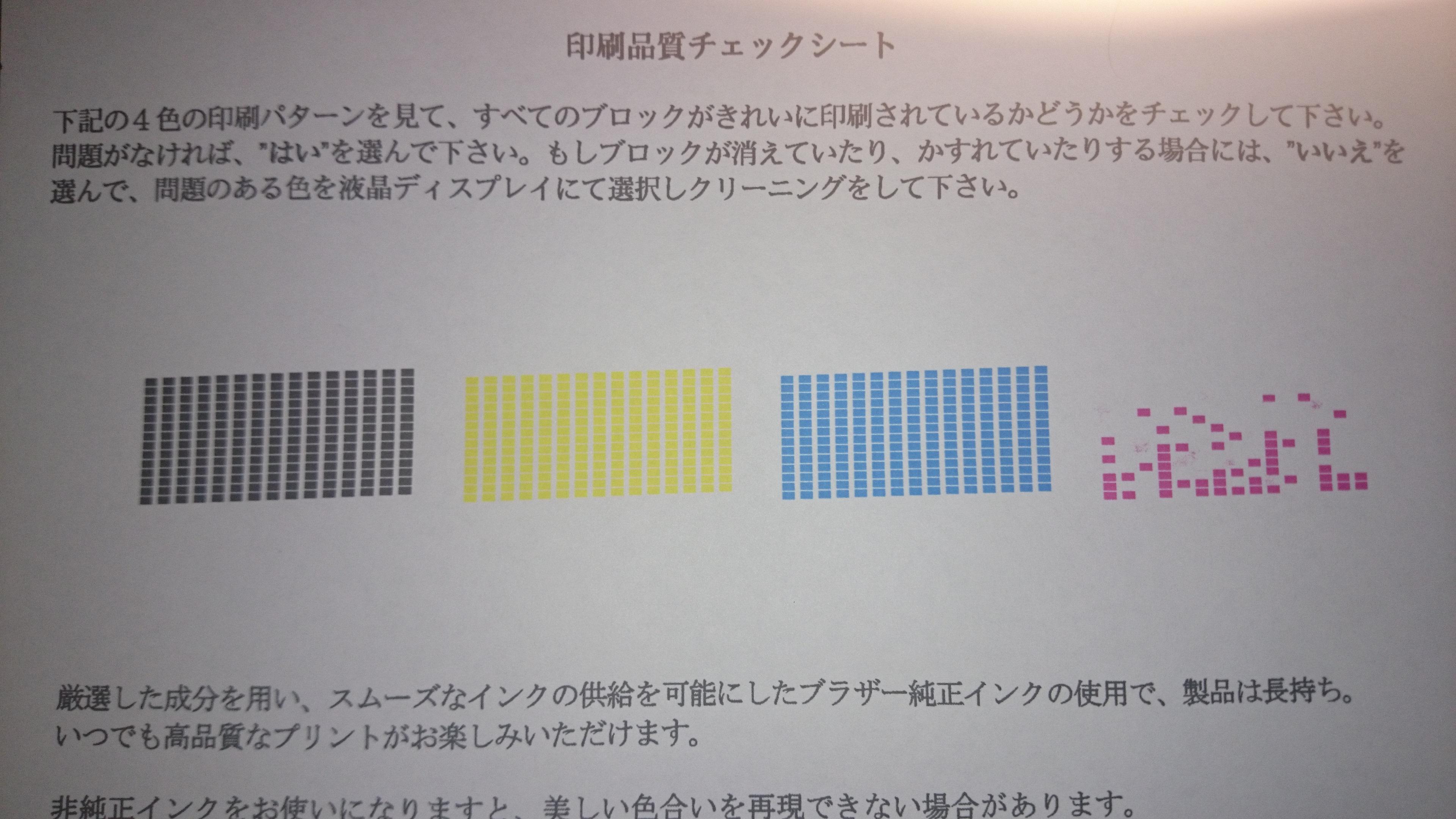テストし印刷品質をチェックプリントするもドット抜けの状況