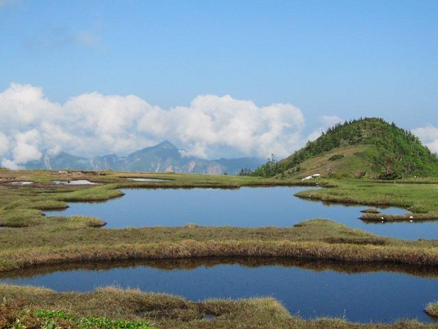 高層湿原と遠方の鳥甲山