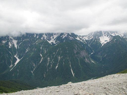 蝶ヶ岳山頂からの穂高方面