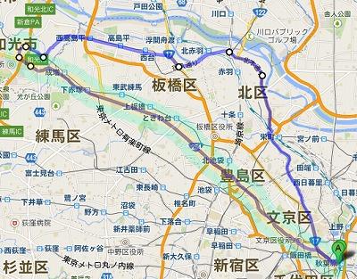自転車の旅 写真:地図1 東京メトロ有楽町線 都営三田線 南北線 東武東上線 赤羽岩淵 西高島平