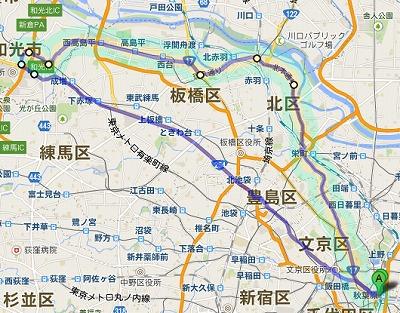 自転車の旅 写真:地図2 東京メトロ有楽町線 都営三田線 南北線 東武東上線 赤羽岩淵 西高島平