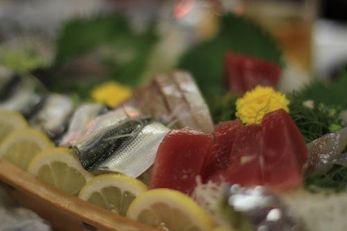 屋形船の天ぷらと刺身