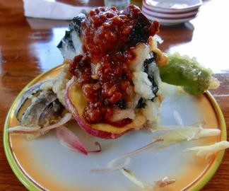 薩摩芋と万願寺唐辛子の揚げ和え