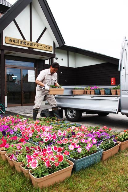 20130615中村建設(株)が町民パークゴルフ場にプランター寄贈