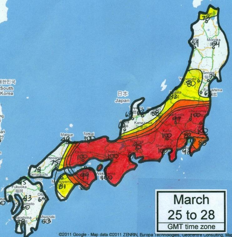 2011年3月25~28日の地震の発生確率地図