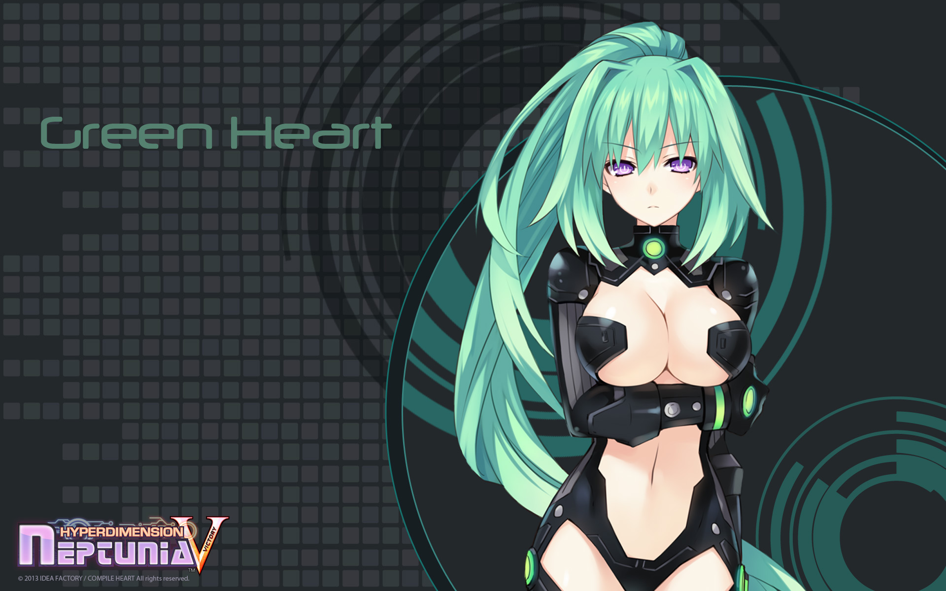 Konachan.com - 156088 green_hair green_heart hyperdimension_neptunia long_hair purple_eyes tsunako