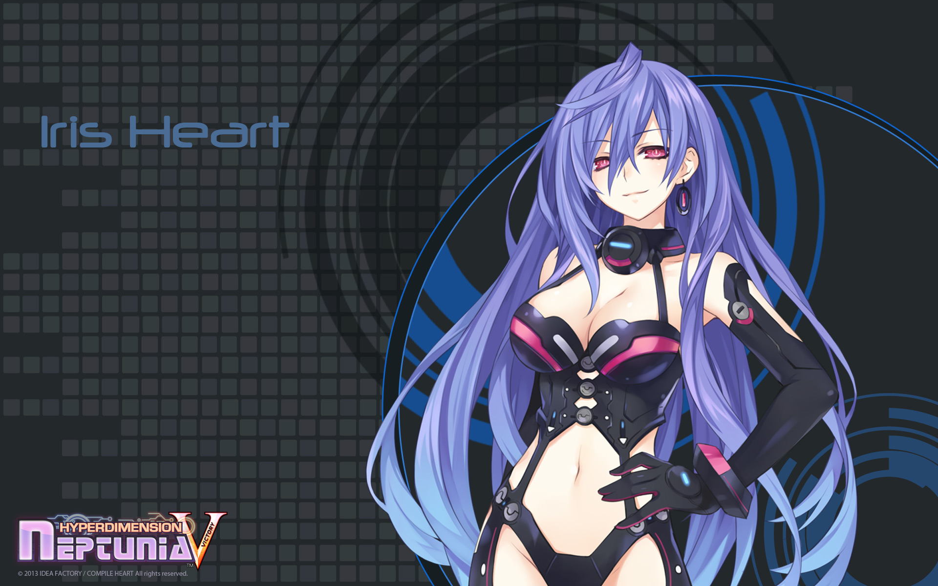 Konachan.com - 156089 blue_hair hyperdimension_neptunia iris_heart long_hair red_eyes tsunako