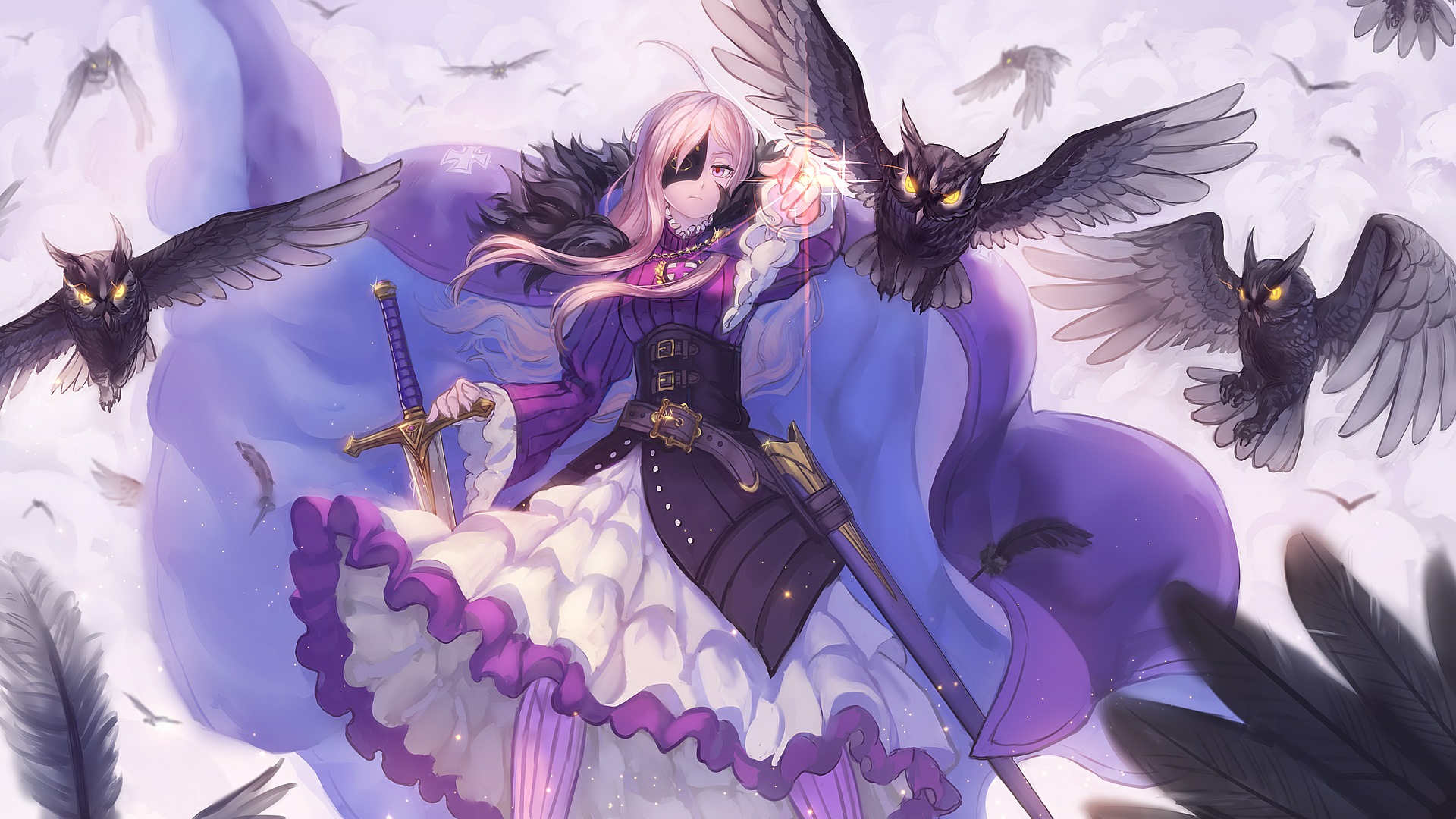 Konachan.com - 155980 animal bird cape dress feathers long_hair mask pixiv_fantasia ryuuzaki_itsu sword weapon1