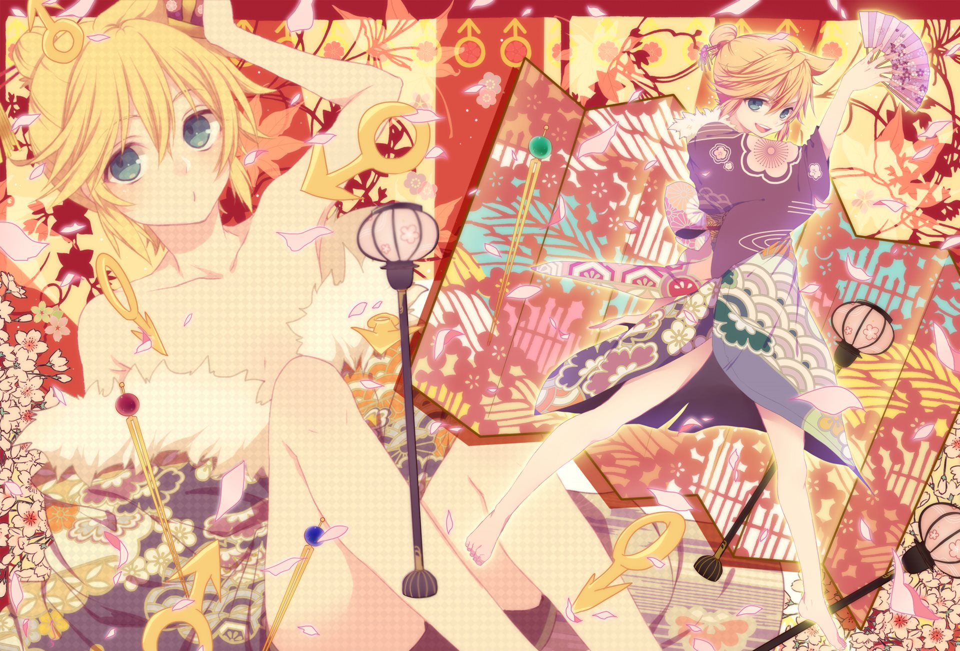 Konachan.com - 155743 barefoot blonde_hair blue_eyes chi_yu fan japanese_clothes kagamine_len male vocaloid1