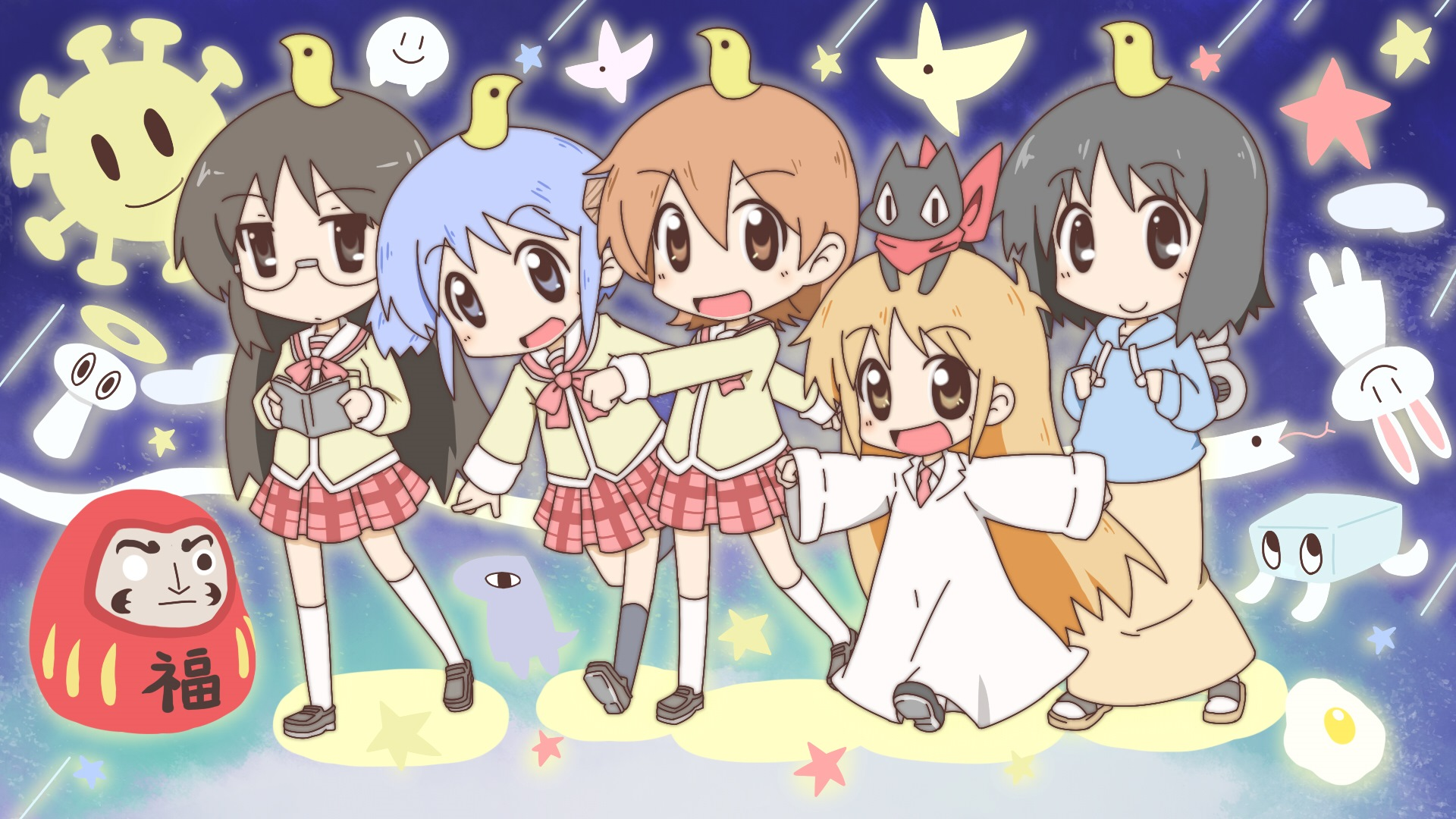 Konachan.com - 155614 aioi_yuuko animal black_eyes blue_eyes blue_hair book brown_eyes brown_hair bunny cat chibi glasses long_hair nichijou seifuku skirt stars twintails1