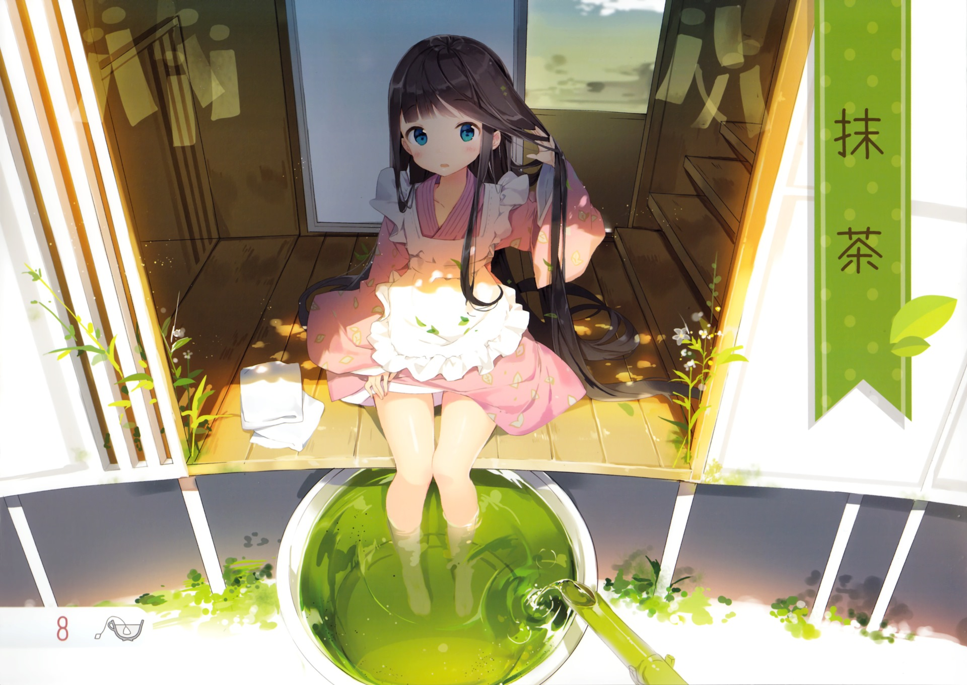 Konachan.com - 155635 anmi barefoot black_hair blue_eyes blush dress flowers long_hair scan tagme water wet1