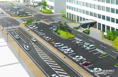 駐車場 庁舎 役所 鳥瞰パース 完成予想図 手書きパース 手描きパース フォトショップ着色