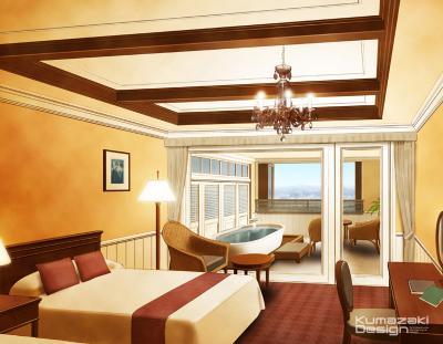 ホテル 旅館 客室 露天風呂付き客室 特別室 内観パース 手書きパース 手描きパース インテリアパース インナーパース フォトショップ