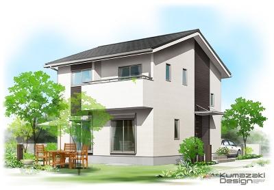 一戸建て住宅 木造住宅 パース 外観パース 手書きパース 手描きパース フォトショップ photoshop