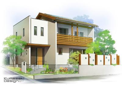一戸建て住宅 木造住宅 注文住宅 パース 外観パース 手書きパース 手描きパース フォトショップ photoshop