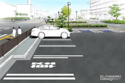 駐車場 庁舎 役所 スポットパース イメージパース 完成予想図 手書きパース 手描きパース フォトショップ着色