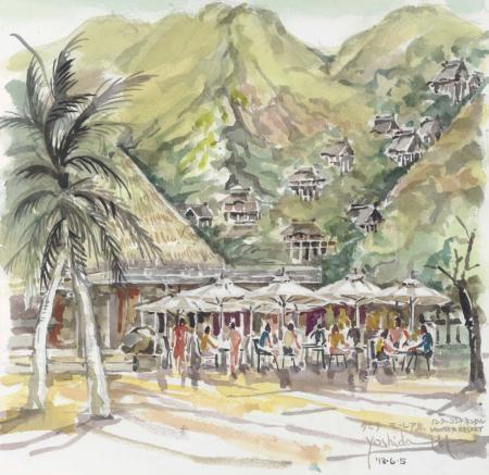 タヒチ・モーレア島ホテルビーチから山の集落