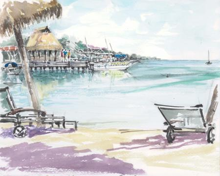 タヒチ・モーレア島ホテルビーチで